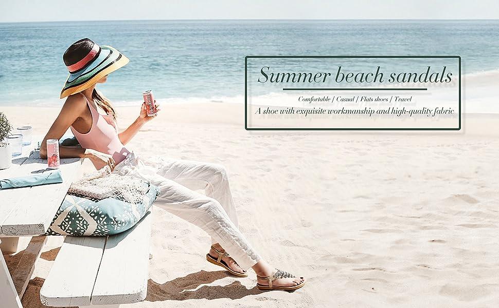 Summer Sandals Casual Comfortable Flip Flop Beach Shoes Ankle T-Strap Elastic Flat Sandals for Women
