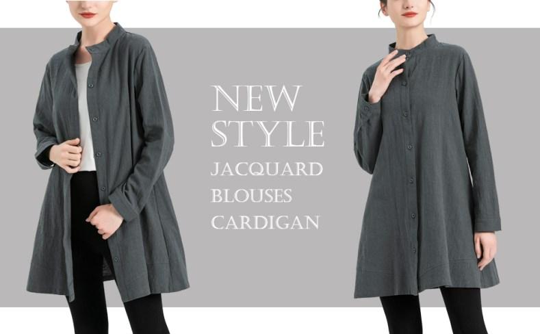 Women's Jacquard Blouses Cardigan