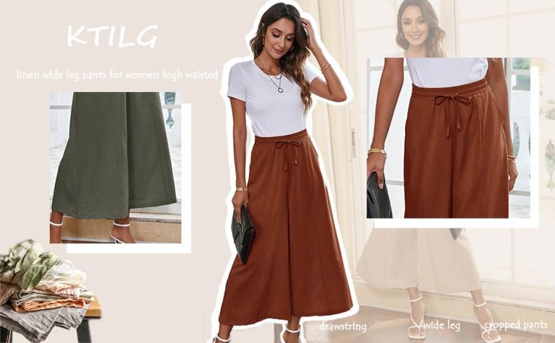 linen drawstring pants women