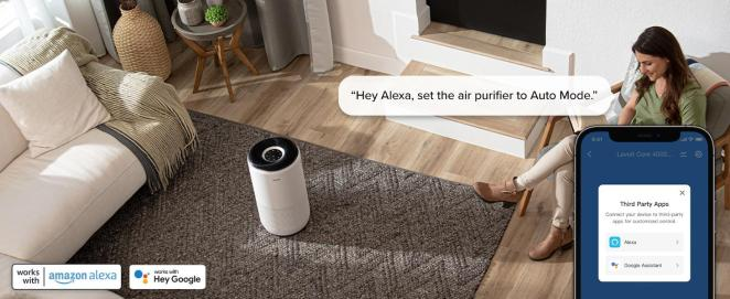 A woman is using Alexa to operate core 400S