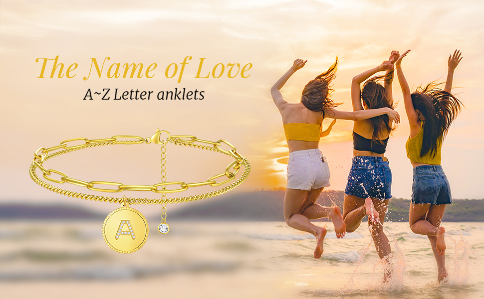 letter initial anklet bracelet double ankle chain