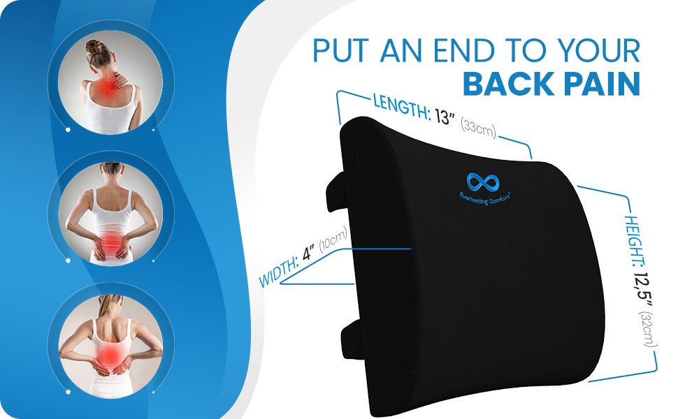 Lumbar support for desk chair targets the upper, middle, and lower back to relieve pain