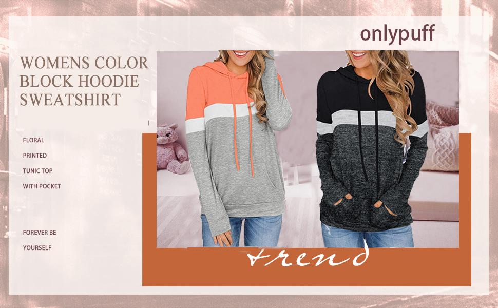 onlypuff Womens Color Block Hoodie Sweatshirt