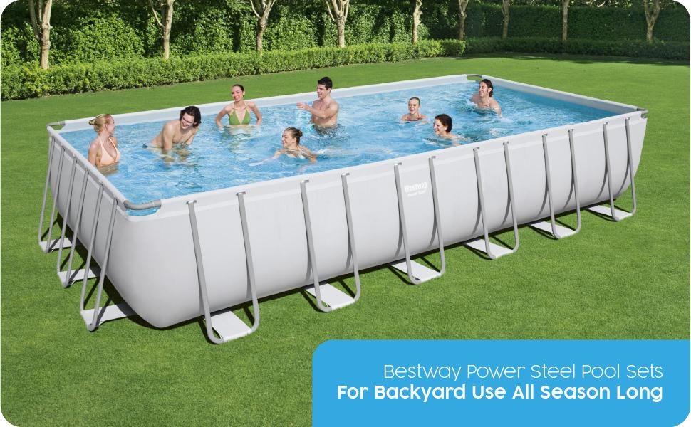 Bestway Pools, Above Ground Pools, Power Steel Pool, Garden Pool, Rectangular Pool, Swimming Pool