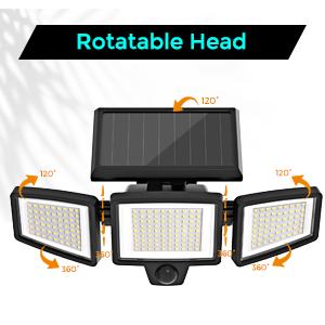 adjustable three heads solar light