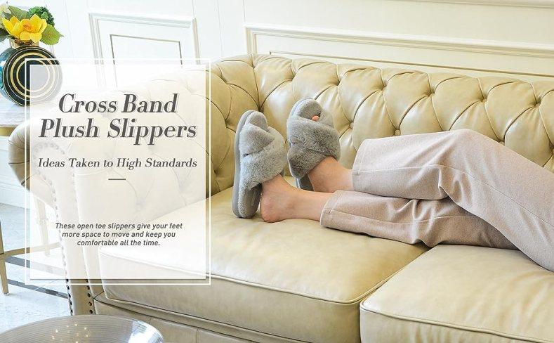 cross band plush slippers