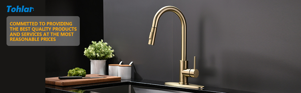 brushed gold kitchen faucet