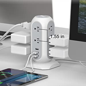 tower power strip surge protector