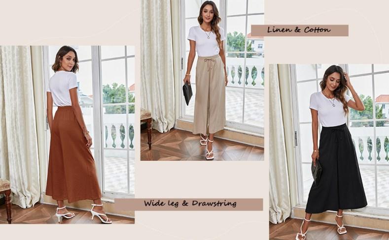 linen wide leg pants for women plus size