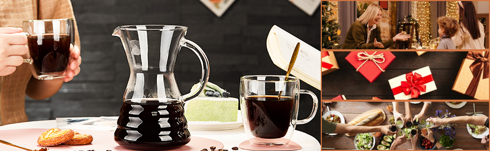 glass pour over coffee maker pot manual dripper brewer kettle   stainless steel filter chemex