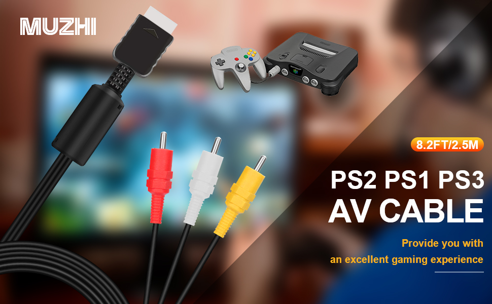 MUZHI 2.5M/8Ft AV Cable for PS2 PS1 PS3