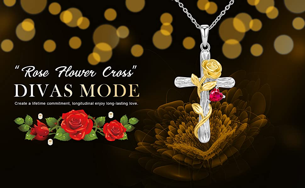 Rose Flower Cross Necklace with Red Heart