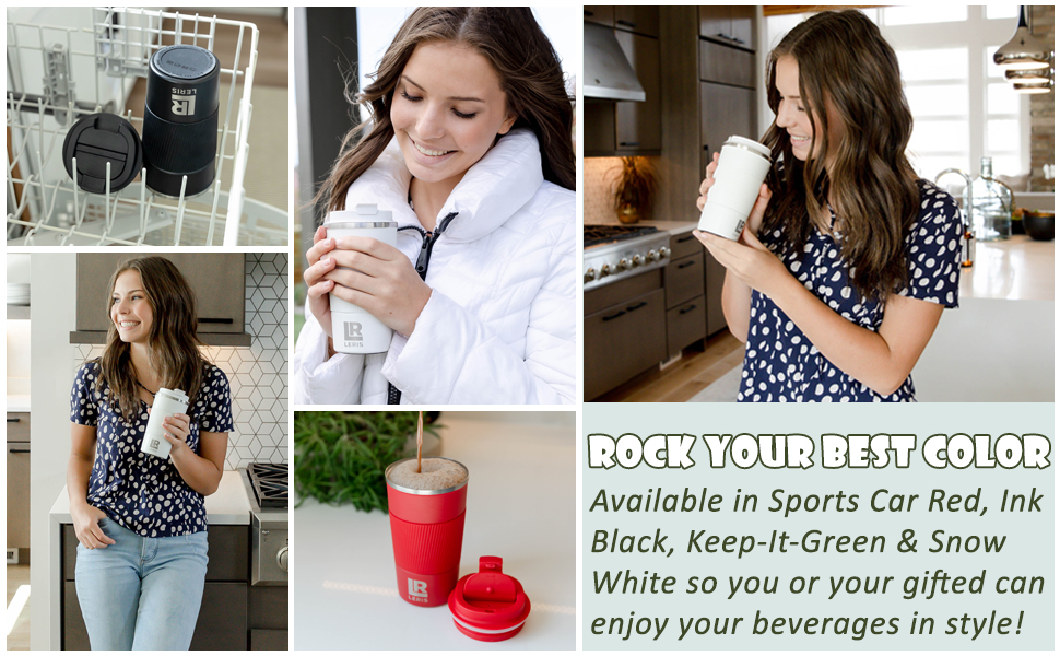 Available in Black, Snow White, Keep-It-Green and and Sports-Car-Red. Enjoy your beverage in style!