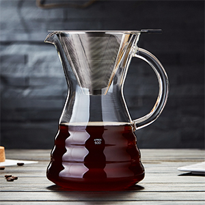 glass pour over coffee maker pot manual dripper brewer kettle stainless steel filter holder chemex