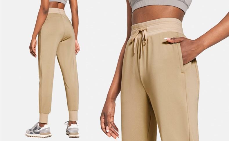 Womens petite/regular fleece lined jogger pants high waist water resistant winter sweatpants