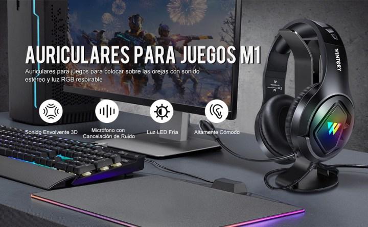 Auriculares para juegos para colocar sobre las orejas con sonido estéreo y luz RGB respirable