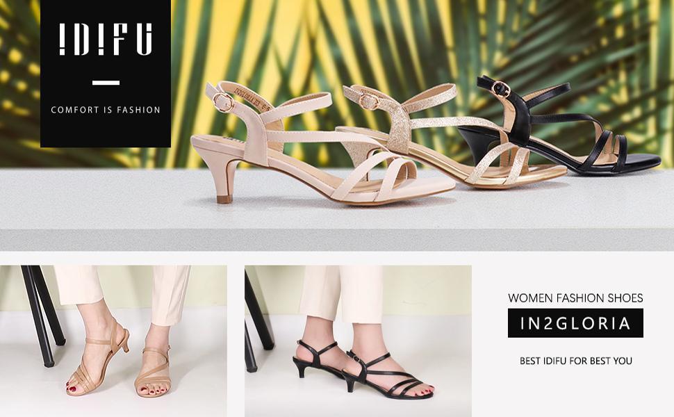 IDIFU LOW KITTEN HEEL STRAPPY Sandals