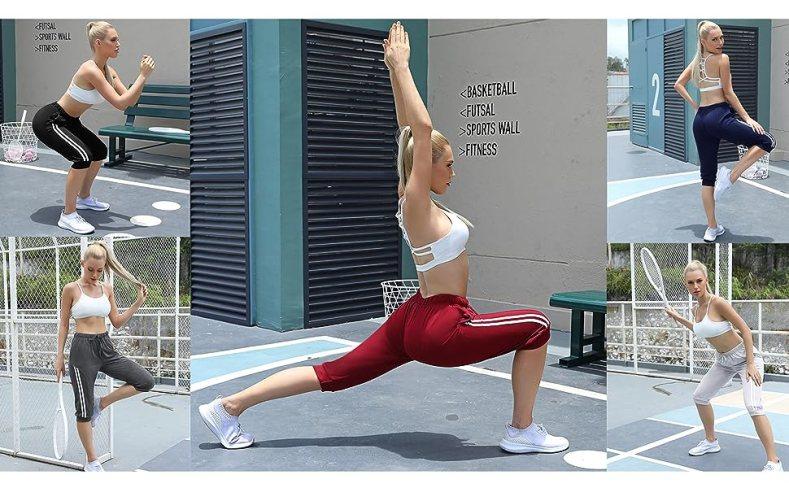 Women's Sweatpants Capri Pants Cropped Jogger Running Pants Lounge Loose Fit Drawstring Waist