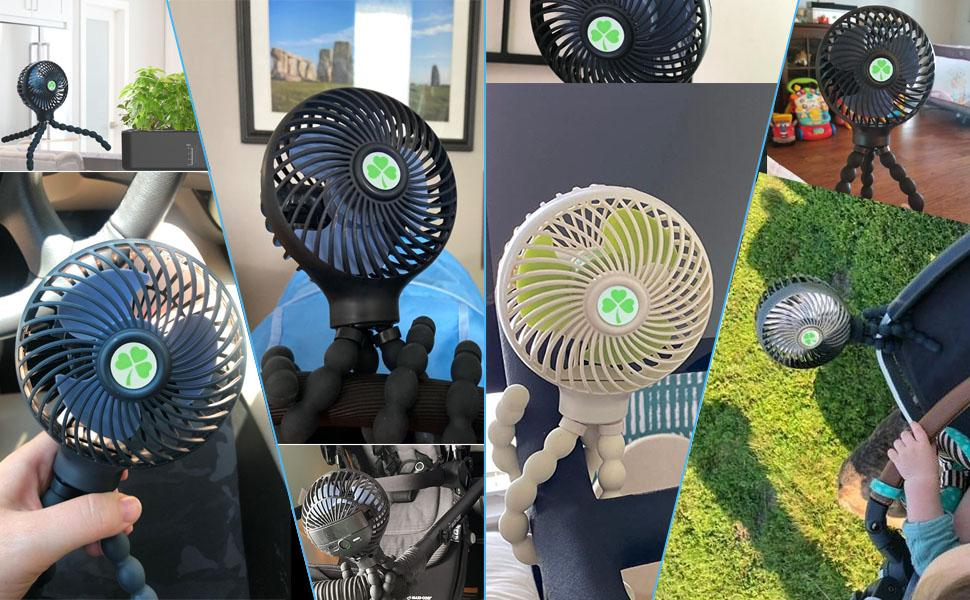 3 Speed Portable Clip on Stroller Fan for Baby
