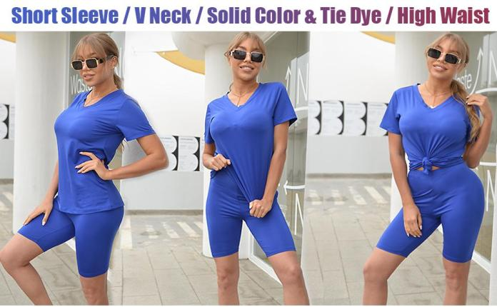 Womens Short Sleeve V Neck T Shirts Solid Color Tops Tie Dye Tshirts High Waist Sport Shorts