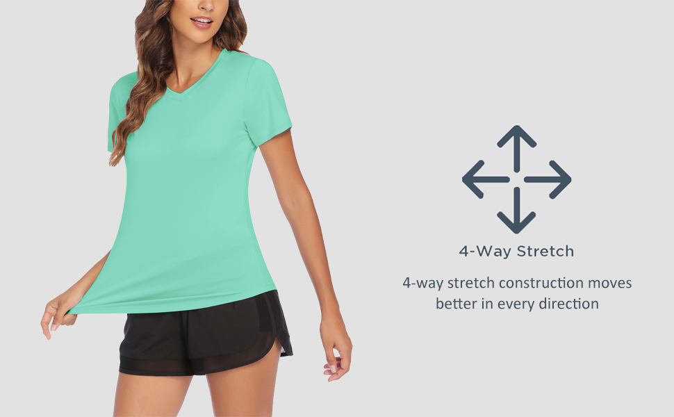 4 way stretch workout yoga fitness tops for women