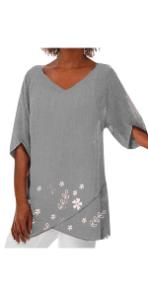 V Neck Linen Tunic Shirts