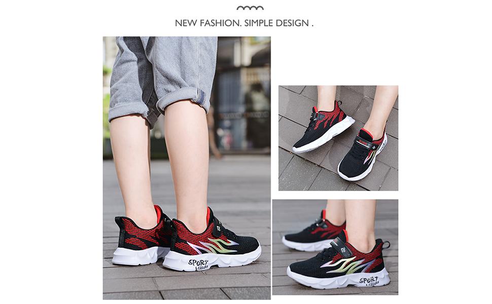 Dublcea Kid Shoes Slip on Running Shoes Athletic Sneaker for Boys Girls Black