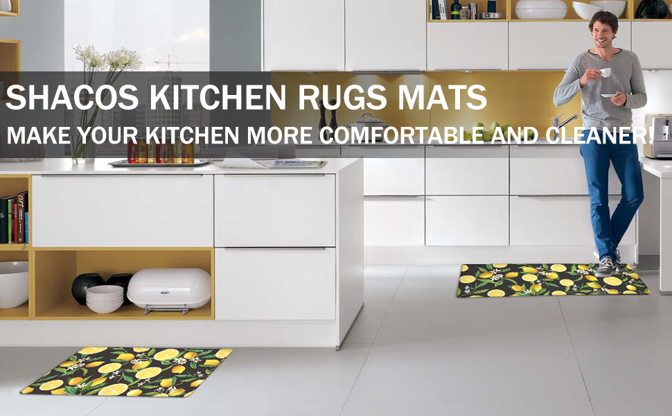 Kitchen Rugs Set of 2 Non Skid Washable