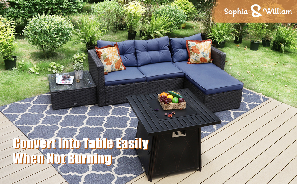 patio furniture sets with fire pit table