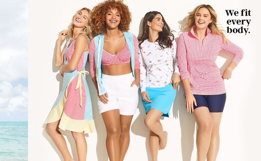 Four women wearing swimsuits and summer inspired clothing.