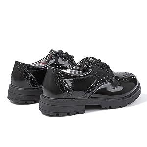 Boy's Girl's Classic Lace-Up Oxford Shoes Comfort School Uniform Dress Loafer Flats Little Kid