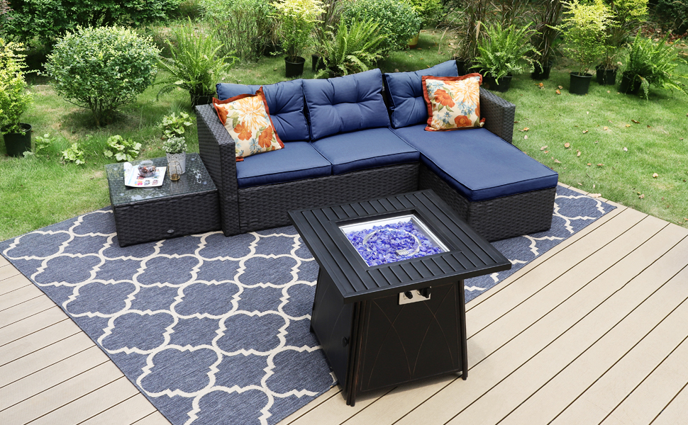 outdoor sectional furniture sets with fire pit table