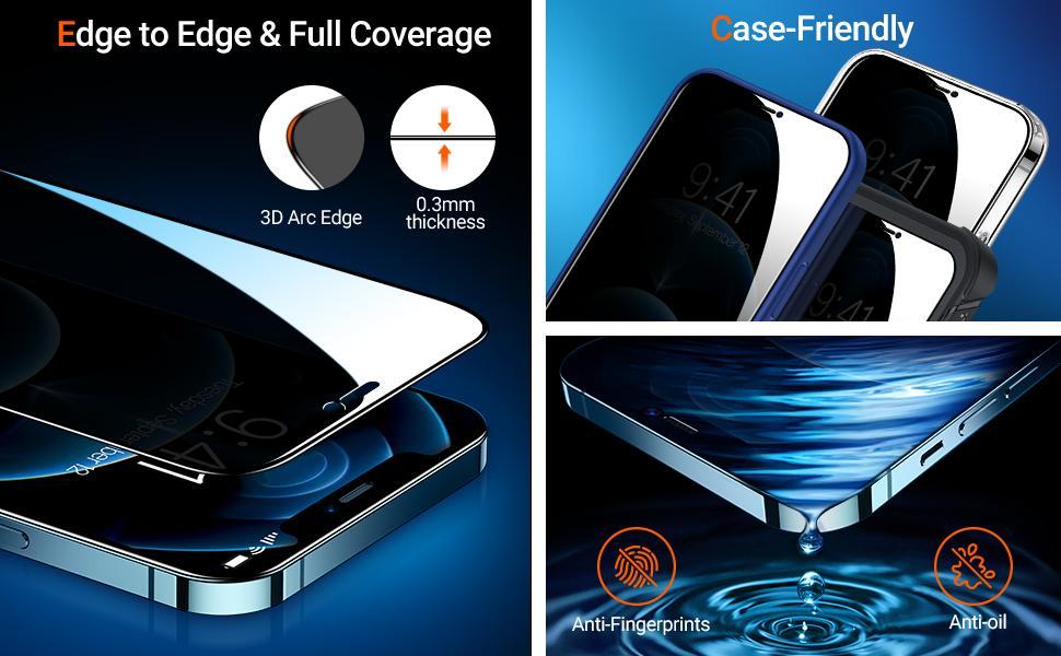 Case-Friendly, full coverage, anti-fingerprints, anti-oil, edge to edge