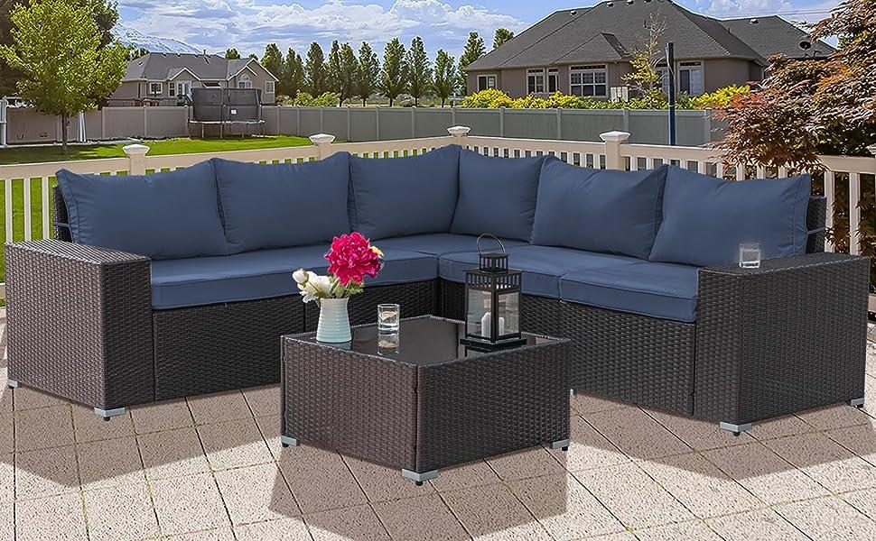 Kullavik Outdoor Patio Furniture Set 6 Pieces Sectional Rattan Sofa Set