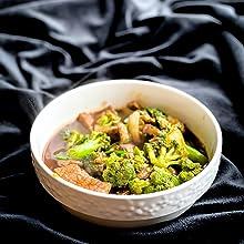 a plate with champignon cream soup