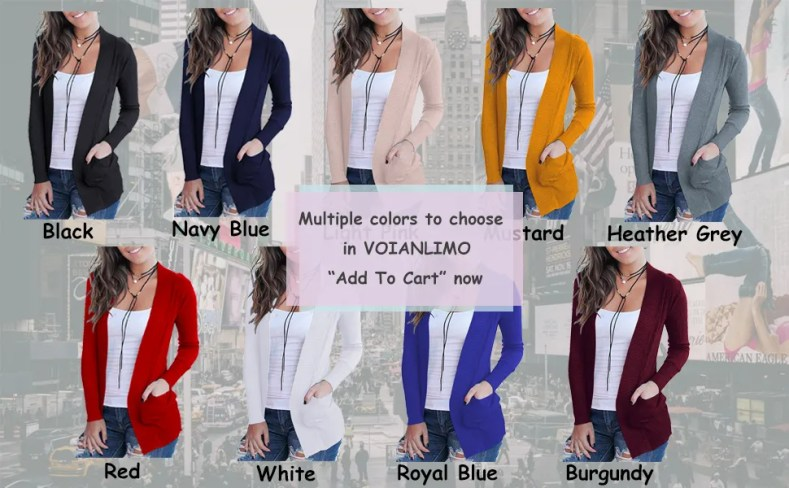 Open front cardigans for women