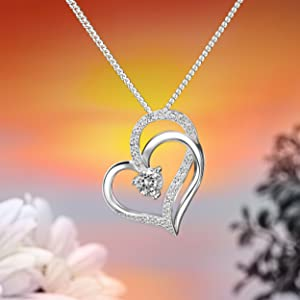 Eleganzia Double heart necklace sterling silver cubic zirconia quality craftsmanship jewelry