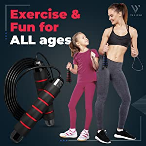 Exercise fun all ages kids women men adults long jump rope