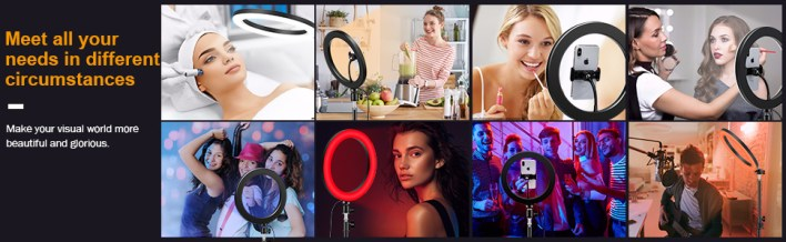Rgb ring light with tripod stand led selfie 10 inch with stand camera phone remote colour multi mode