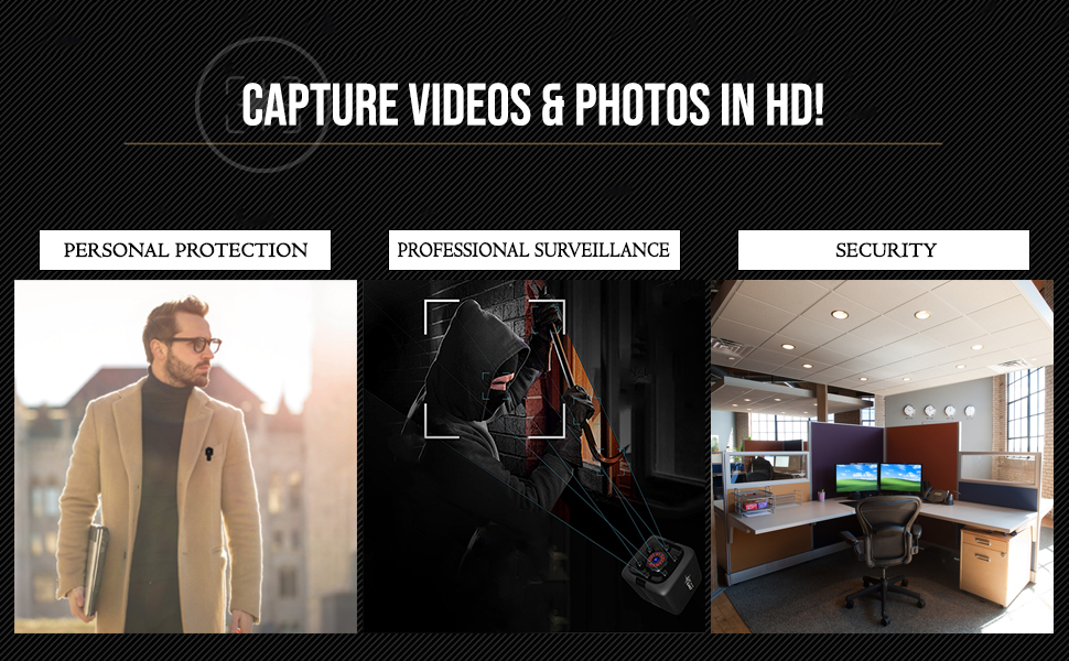Nanny camera captures videos in HD. Use mini camera for personal protection and security