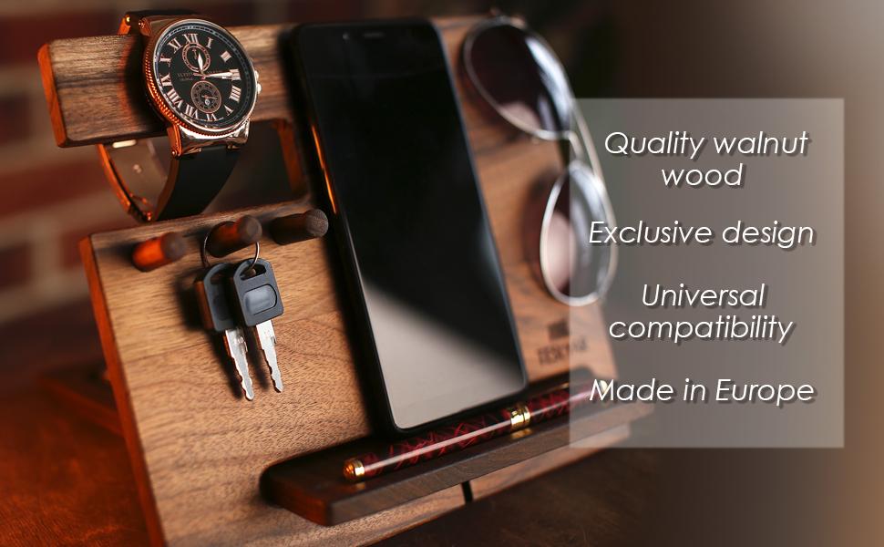 wooden desk organizer phone stand
