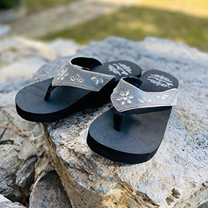 Montana West Flip Flops for Women Western Embroidered Studded Comfortable Platform Wedge Sandals