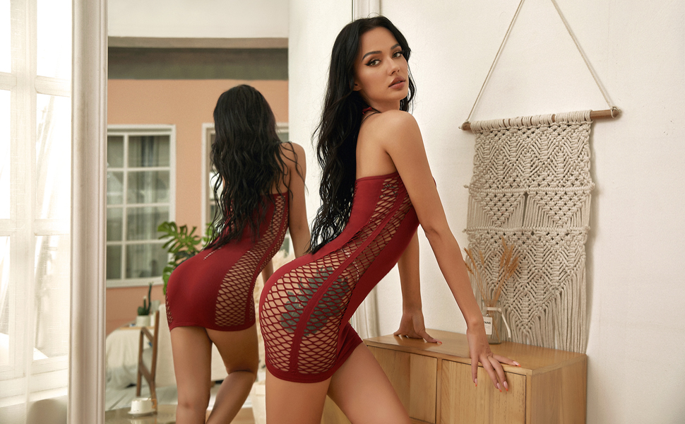 Women Fishnet bodysuit Lingerie Halter Nightwear Mini Teddy Dress