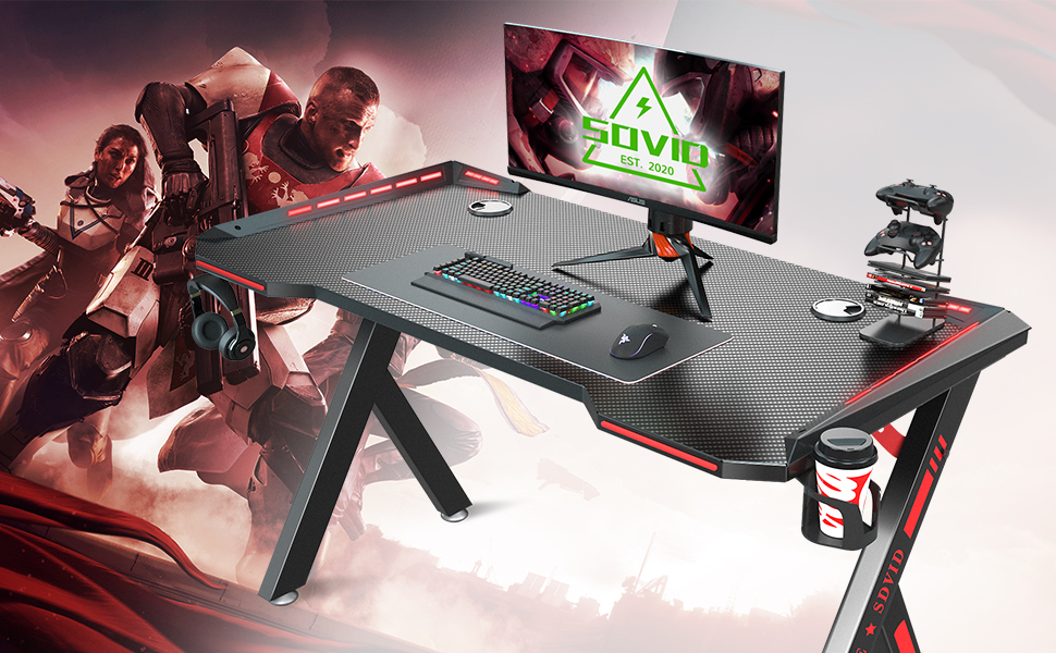 """SOViD 47""""Gaming Desk - Level up your gaming experience."""