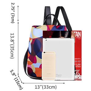 convertible big commuter slim bookbag purse nylon smell proof student personal flower theft proof