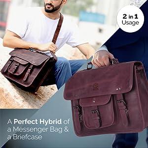 handmade genuine Leather satchel messenger Laptop Bag Handle Briefcase Carry on travel shoulder bag