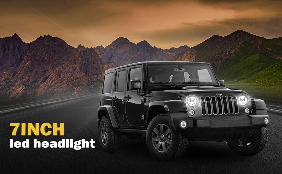 DRL & Amber Turn Signal Lights High/Low Beam For Jeep Wrangler JK LJ CJ Hummer H1 H2