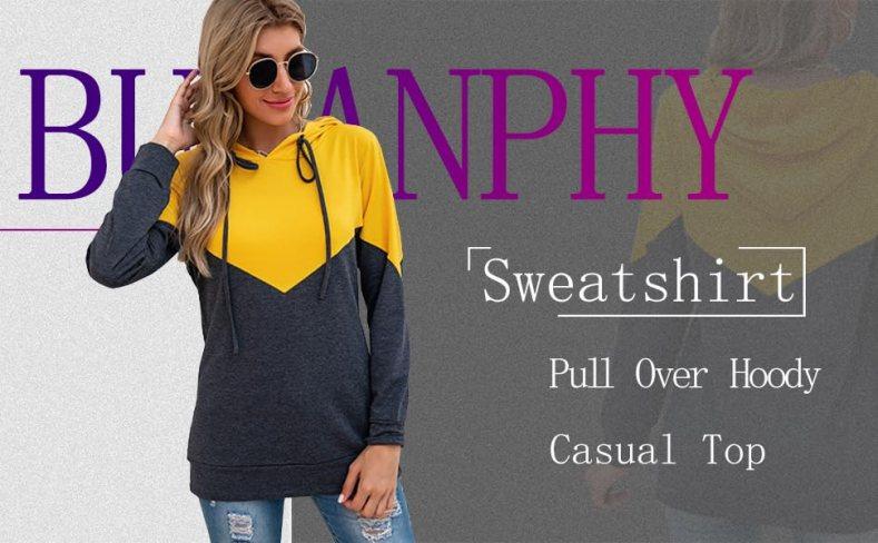 Womens Hoodie Color Block Pullover fashion  sweatshirts