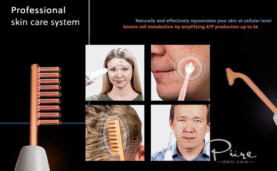 collagen stimulator, eye wrinkle reducer, neon hair grow helper, portable skin therapy machine