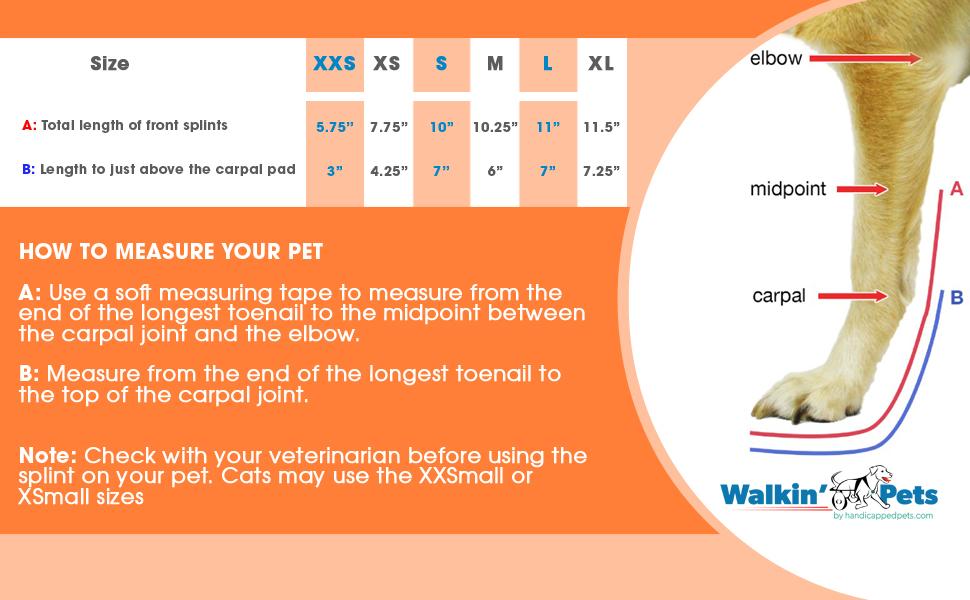 Walkin' Pet Splint For Dogs Sizing Chart